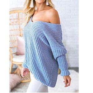 Sweaters - Oversized Off Shoulder Chunky Sweater